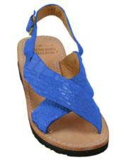 Mens Electric-Blue Exotic Skin Sandals in ostrich or World Best Alligator ~ Gator Skin or Stingray skin