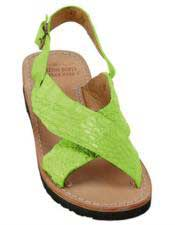 Mens Exotic Skin Electric-Lime Sandals in ostrich or World Best Alligator ~ Gator Skin or Stingray skin
