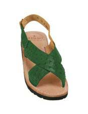 Mens Exotic Skin Forest Green Sandals in ostrich or World Best Alligator ~ Gator Skin or Stingray