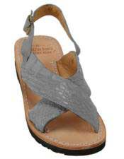 Mens Exotic Skin Gray Sandals in ostrich or World Best Alligator ~ Gator Skin or Stingray skin