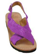 Mens Exotic Skin Sandals Magenta in ostrich or World Best Alligator ~ Gator Skin or Stingray skin