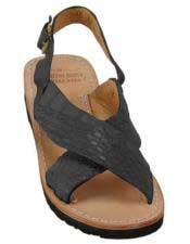 Mens Matte-Black Exotic Skin Sandals in ostrich or World Best Alligator ~ Gator Skin or Stingray skin