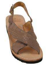 Mens Exotic Skin Matte-Brown Sandals in ostrich or World Best Alligator ~ Gator Skin or Stingray skin