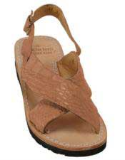 Mens Exotic Skin Matte-Cognac Sandals in ostrich or World Best Alligator ~ Gator Skin or Stingray skin