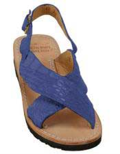 Mens Exotic Skin Matte-Navy Sandals in ostrich or World Best Alligator ~ Gator Skin or Stingray skin
