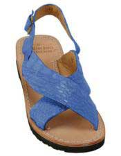 Mens Exotic Skin Navy Sandals in ostrich or World Best Alligator ~ Gator Skin or Stingray skin