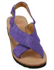 Mens Exotic Skin Purple Sandals in ostrich or World Best Alligator ~ Gator Skin or Stingray skin