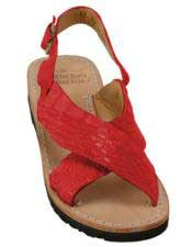 Mens Exotic Skin Sandals Red in ostrich or World Best Alligator ~ Gator Skin or Stingray skin