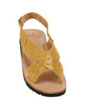 Mens Exotic Skin Saddle Sandals in ostrich or World Best Alligator ~ Gator Skin or Stingray skin