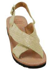 Mens Exotic Skin Stone Sandals in ostrich or World Best Alligator ~ Gator Skin or Stingray skin