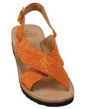 Mens Exotic Skin Tangerine Sandals in ostrich or World Best Alligator ~ Gator Skin or Stingray skin