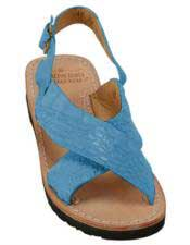 Mens Exotic Skin Turquoise Sandals in ostrich or World Best Alligator ~ Gator Skin or Stingray skin