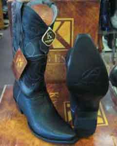 Exotic Snip Toe Genuine Shark Western Cowboy Boot EE Black