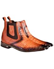 Mens Faded Cognac Vestigium Genuine Caiman Belly Chelsea Boots