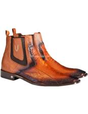Mens Handcrafted Faded Cognac  Vestigium Genuine Ostrich Leg
