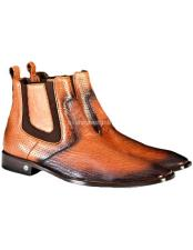 Mens Full Leather Faded Cognac Vestigium Genuine Sharkskin Chelsea Boots