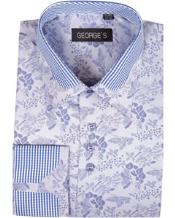 High Collar Club Style Lavender Pattern Shirts