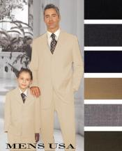 Men + 1 Boy Matching Set For Both Father And Son 2 For $278 Suit Beige