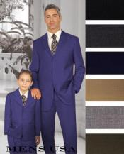 Dark Blue Classic Tailored Clothing Matching Set For Both Father And Son
