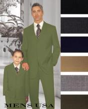Men + 1 Boy Matching Set For Both Father And Son 2 For $278 Suit Olive Green