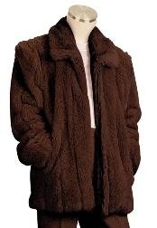 Dress Coat Faux Fur 3/4 Length Coat Brown