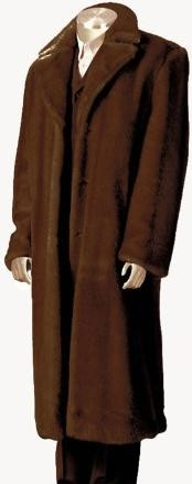 Mens Overcoat Mens Dress Coat Faux Fur Full Length Coat Brown