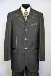 Brass and Faux Leather Grey Peak Lapel Zoot Suit