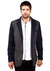 Mens Faux Leather Trim Navy Charcoal Regular Fit Notch