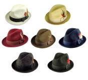 Mens 100% Wool Fedora Trilby Mobster Hat in 6 Colors