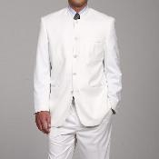 Mens White 5 button Mandarin Collar Suits For Men