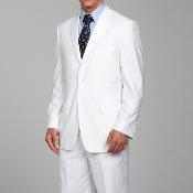 Mens White Two-button Suits For Men With Flat Front Pants