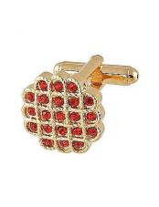 0023G Mens Ferrecci Favor Red Cuff Links 3Pcs Set With Fancy