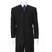 Black Mandarin Collar Suit