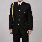 Mens Cadet-Uniform Black Suit