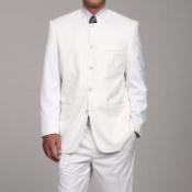 White Mandarin Collar Suit
