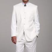 White Mandarin Collar Suit
