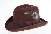 Wool Felt Fedora Brown