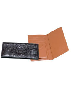 Genuine Exotic Animal Skin Ferrini Genuine Hornback Crocodile Checkbook Wallet in