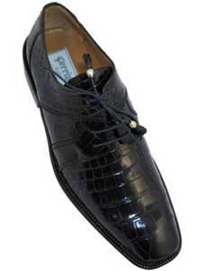 Mens Ferrini F205 World Best Alligator ~ Gator Skin Derby Shoes Navy