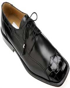 Black Genuine Alligator/Calf Shoes