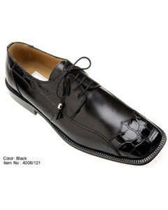 Genuine Alligator/Calf Shoes Black