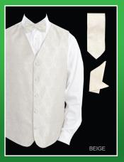 4 Piece Groomsmen Dress Tuxedo Wedding Vest Set (Bow Tie Neck