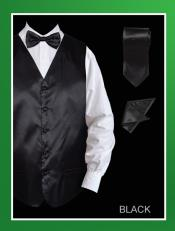 4 Piece Groomsmen Dress Tuxedo Wedding Vest ~ Waistcoat ~ Waist coat  Set (Bow Tie Neck