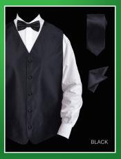 4 Piece Dress Tuxedo Wedding Vest ~ Waistcoat ~ Waist coat Set (Bow Tie Neck Tie Hanky)