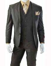 Brown Three Piece Slim Fit Notch Lapel Single Breasted 5 Button