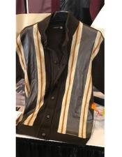 Mens 5 Button Cream/Brown Zipper Style Mock Neck Pull Over Long Sleeve Sweater