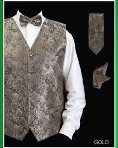 Four Piece Groomsmen Dress Tuxedo Wedding Vest  Set (Bow Tie
