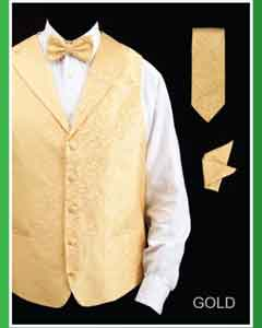 Four Piece Dress Tuxedo Wedding Vest Gold Lapelled Groomsmen (Bow Tie