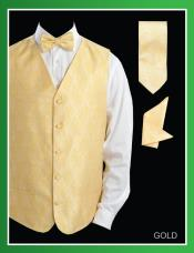 Four Piece P A I S L E Y Jacquard Gold ~ Yellow ~ Banana - Groomsmen