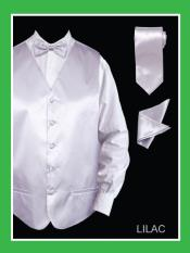 4 Piece Vest Set (Bow Tie Neck Tie Hanky) - Satin
